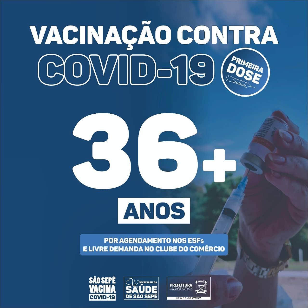 Vacinação em São Sepé chega para pessoas de 36 anos