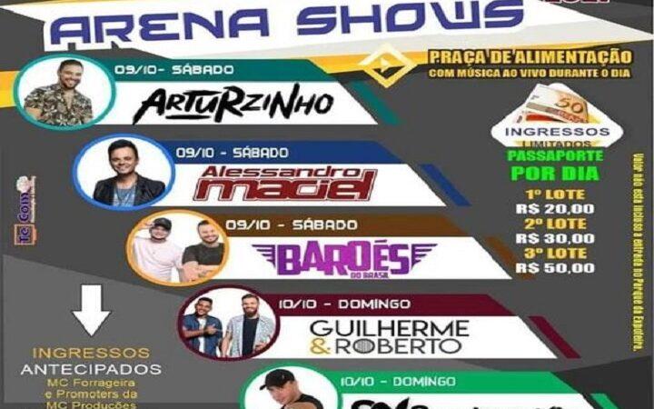 Confira a agenda de shows da 46ª Expofeira Regional neste final de semana